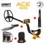 Pack 400i : Détecteur de métaux Garrett ACE 400i avec Propointer 2, pelle couteau Edge Digger, sacoche camo Garrett et sac à dos