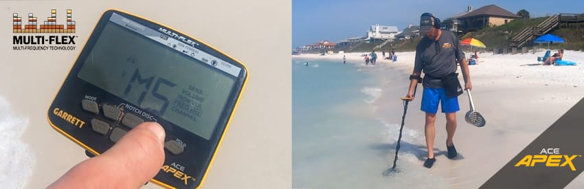 Apex garrett détecteur de métaux plage sable humide