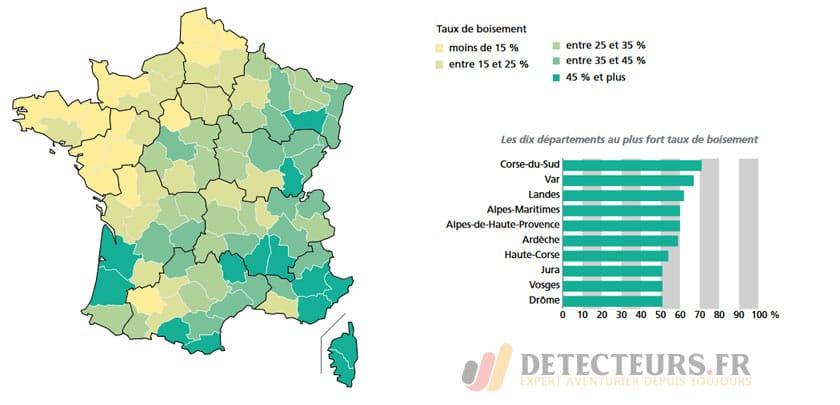Carte de France des bois et forêts
