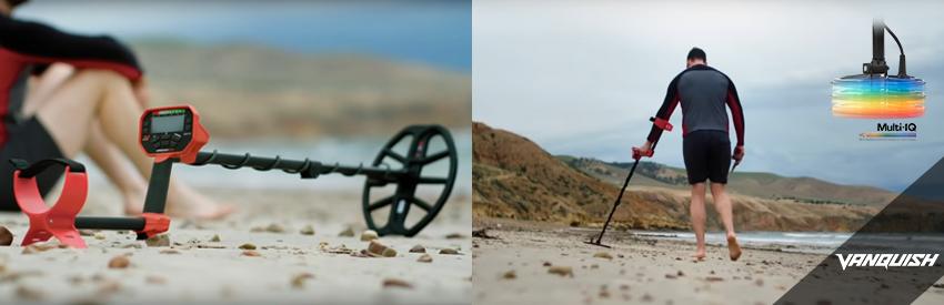 vanquish détecteur de métaux plage sable humide